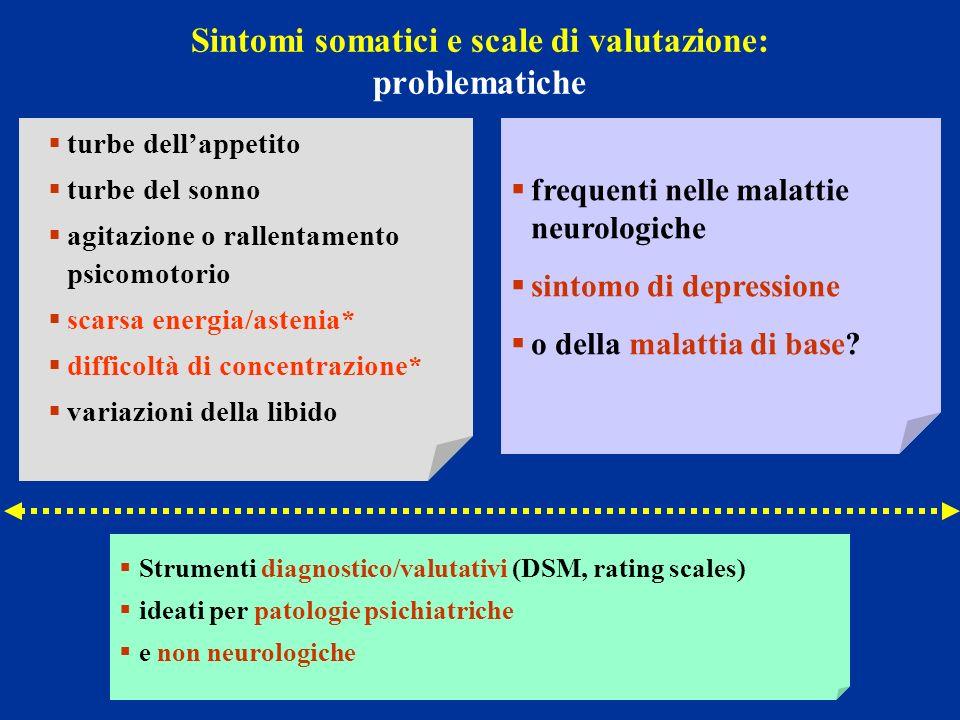 Sintomi somatici e scale di valutazione: problematiche frequenti nelle malattie neurologiche sintomo di depressione o della malattia di base? turbe de