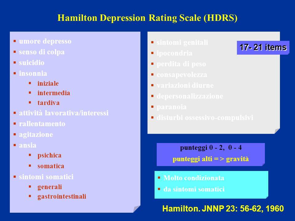 Hamilton Depression Rating Scale (HDRS) umore depresso senso di colpa suicidio insonnia iniziale intermedia tardiva attività lavorativa/interessi rall