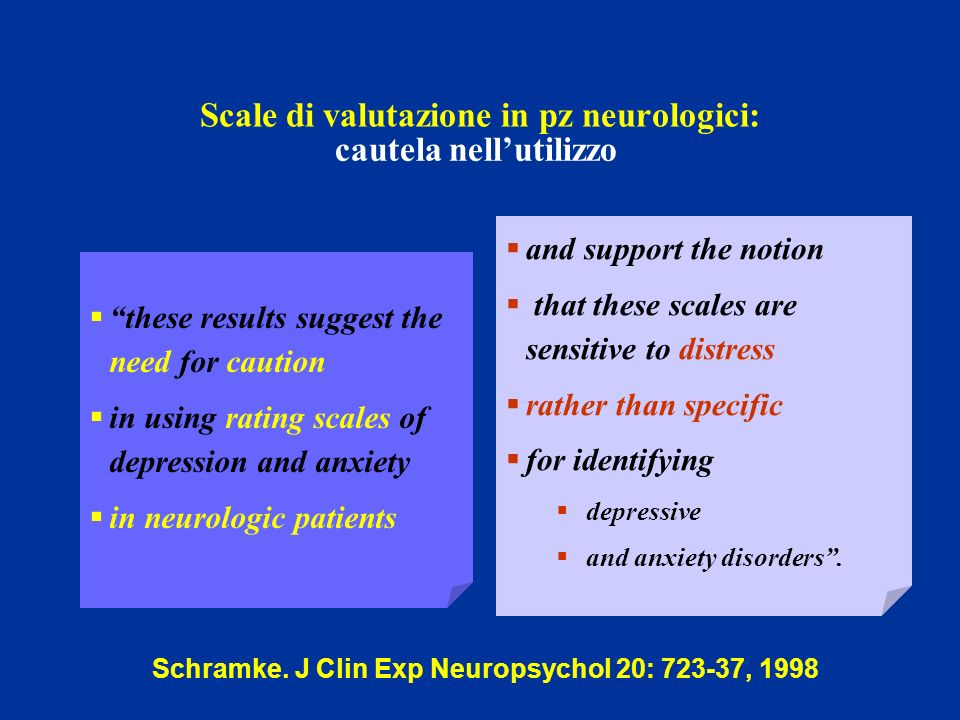Scale di valutazione in pz neurologici: these results suggest the need for caution in using rating scales of depression and anxiety in neurologic pati