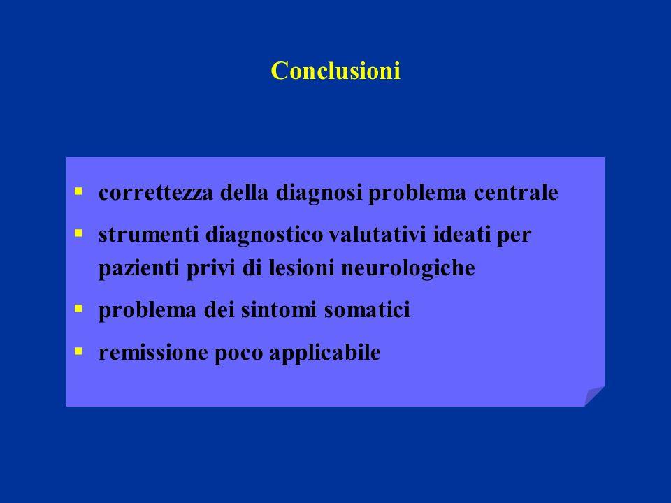Conclusioni correttezza della diagnosi problema centrale strumenti diagnostico valutativi ideati per pazienti privi di lesioni neurologiche problema d