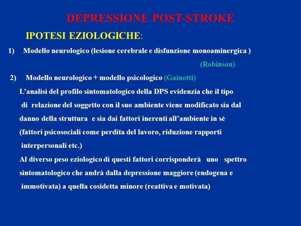 DEPRESSIONE POST-STROKE IPOTESI EZIOLOGICHE: 1)Modello neurologico (lesione cerebrale e disfunzione monoaminergica ) (Robinson) 2) Modello neurologico