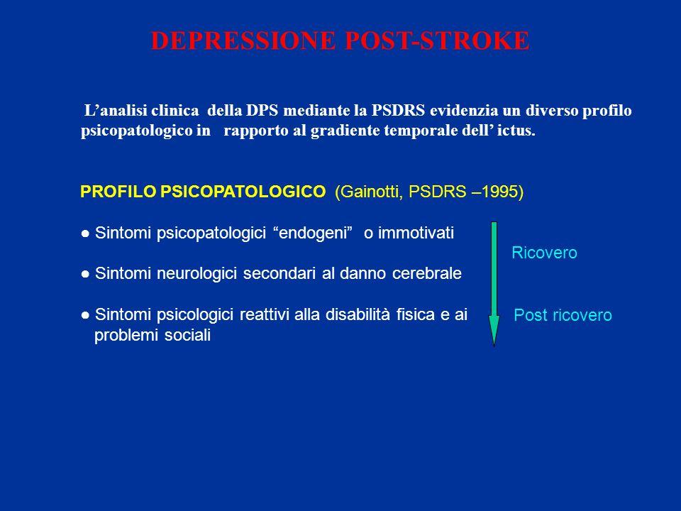 DEPRESSIONE POST-STROKE Lanalisi clinica della DPS mediante la PSDRS evidenzia un diverso profilo psicopatologico in rapporto al gradiente temporale d