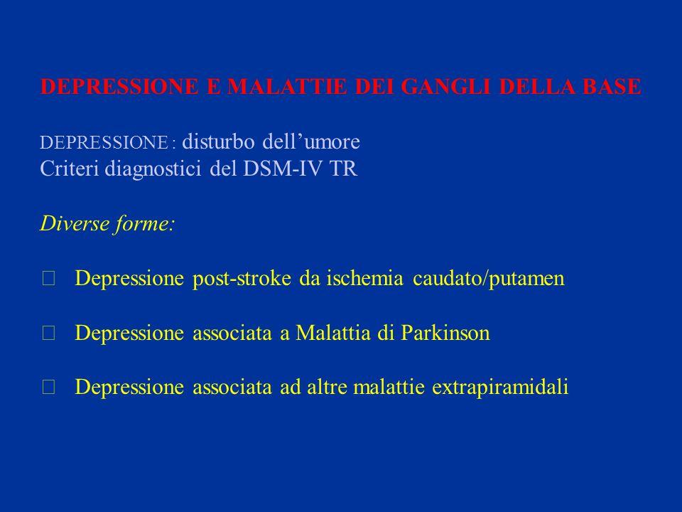 DEPRESSIONE E MALATTIE DEI GANGLI DELLA BASE DEPRESSIONE : disturbo dellumore Criteri diagnostici del DSM-IV TR Diverse forme:  Depressione post-stro