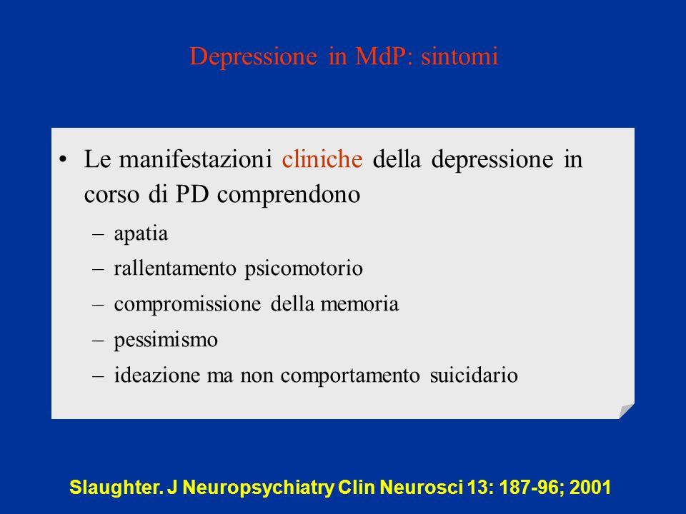 Depressione in MdP: sintomi Slaughter. J Neuropsychiatry Clin Neurosci 13: 187-96; 2001 Le manifestazioni cliniche della depressione in corso di PD co