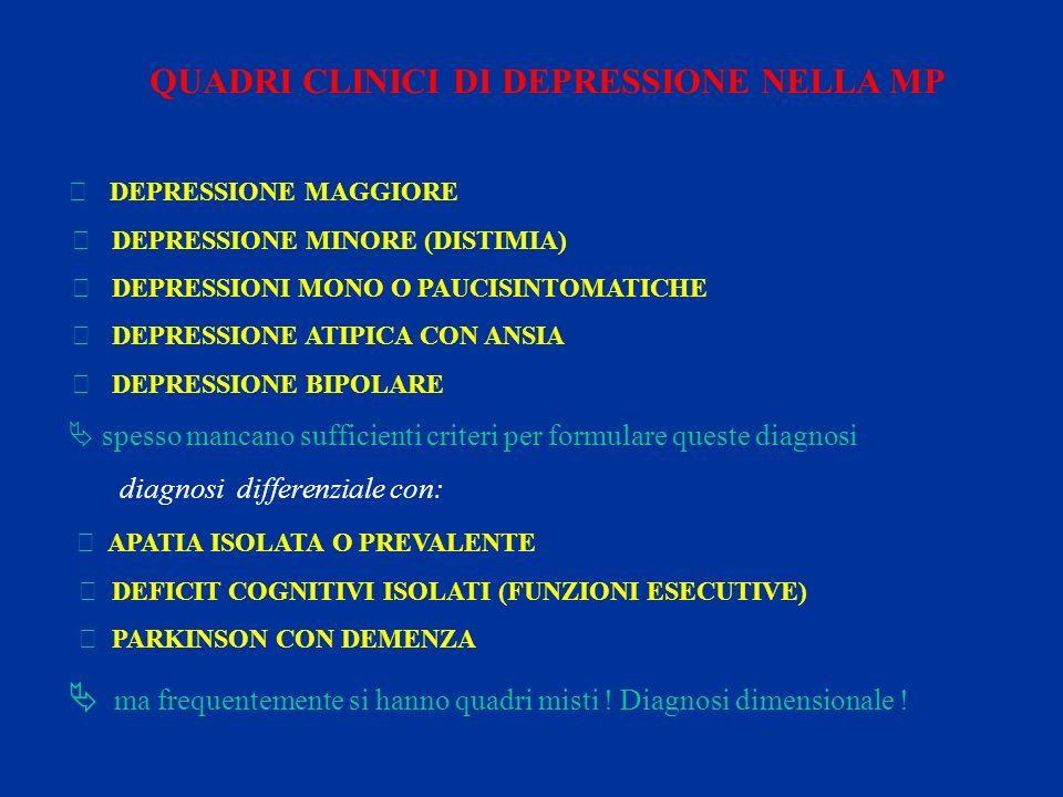 QUADRI CLINICI DI DEPRESSIONE NELLA MP  DEPRESSIONE MAGGIORE  DEPRESSIONE MINORE (DISTIMIA)  DEPRESSIONI MONO O PAUCISINTOMATICHE  DEPRESSIONE ATI