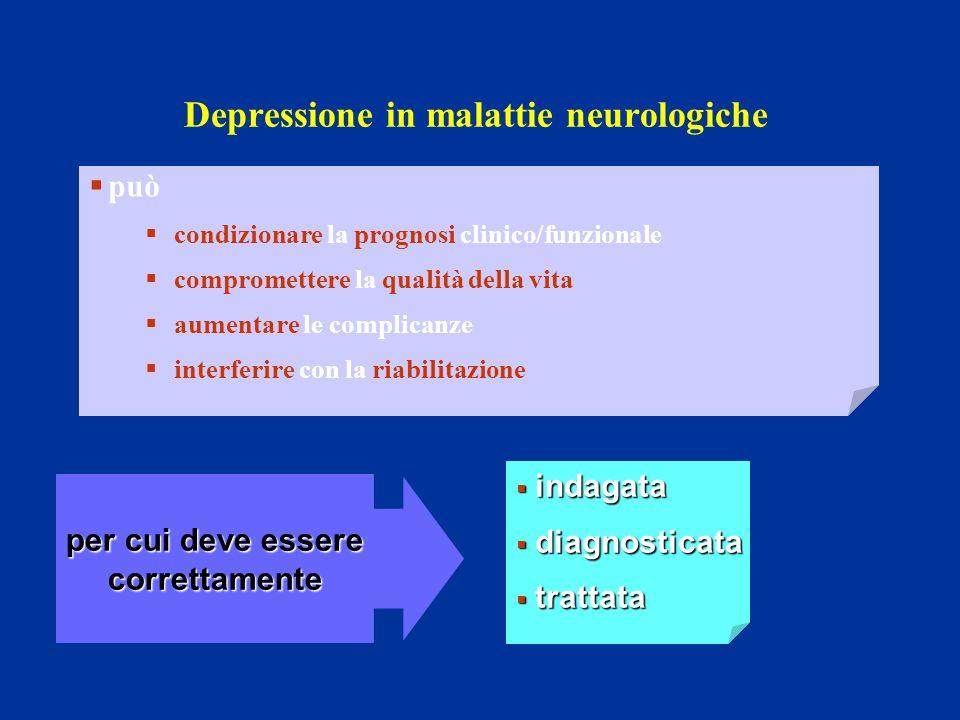Depressione in malattie neurologiche per cui deve essere correttamente indagata indagata diagnosticata diagnosticata trattata trattata può condizionar