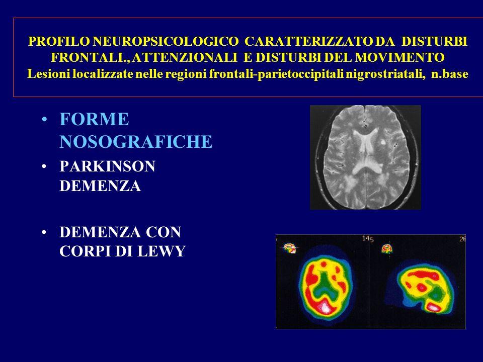 PROFILO NEUROPSICOLOGICO CARATTERIZZATO DA DISTURBI FRONTALI., ATTENZIONALI E DISTURBI DEL MOVIMENTO Lesioni localizzate nelle regioni frontali-parietoccipitali nigrostriatali, n.base FORME NOSOGRAFICHE PARKINSON DEMENZA DEMENZA CON CORPI DI LEWY