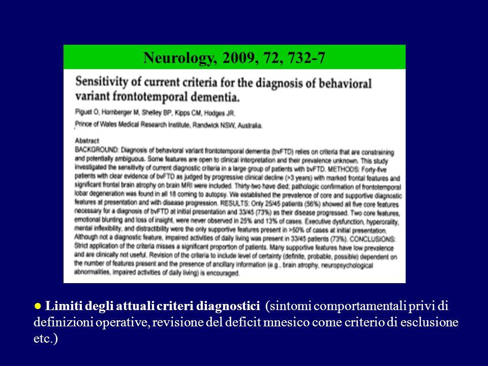 Limiti degli attuali criteri diagnostici (sintomi comportamentali privi di definizioni operative, revisione del deficit mnesico come criterio di esclusione etc.) Neurology, 2009, 72, 732-7