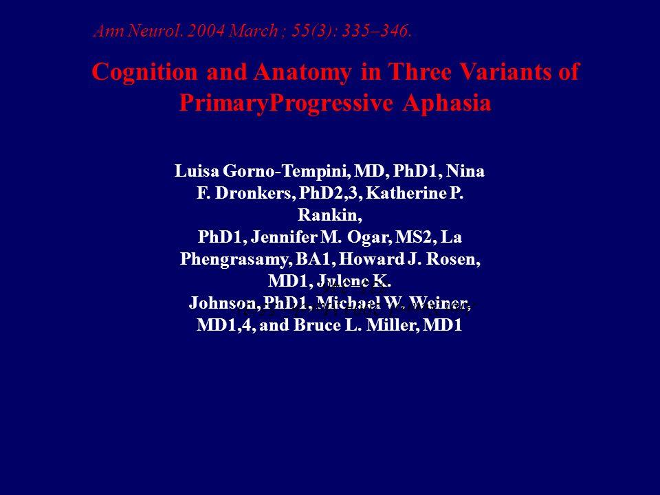Luisa Gorno-Tempini, MD, PhD1, Nina F.Dronkers, PhD2,3, Katherine P.