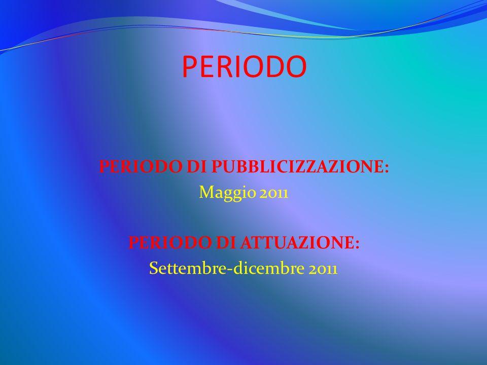 PERIODO PERIODO DI PUBBLICIZZAZIONE: Maggio 2011 PERIODO DI ATTUAZIONE: Settembre-dicembre 2011