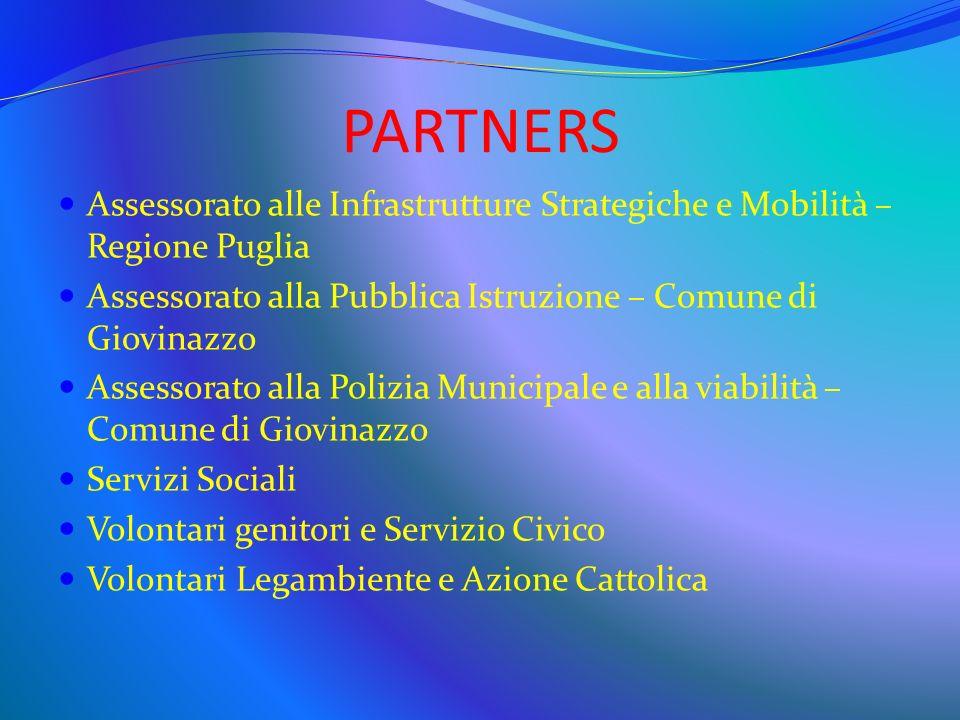 PARTNERS Assessorato alle Infrastrutture Strategiche e Mobilità – Regione Puglia Assessorato alla Pubblica Istruzione – Comune di Giovinazzo Assessora