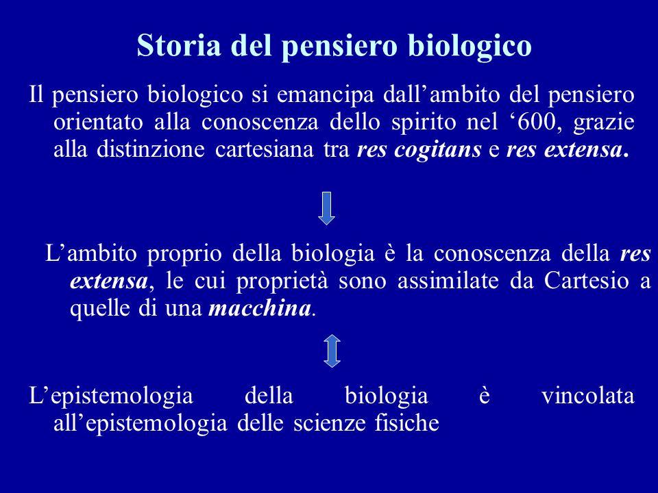 Il pensiero biologico si emancipa dallambito del pensiero orientato alla conoscenza dello spirito nel 600, grazie alla distinzione cartesiana tra res cogitans e res extensa.