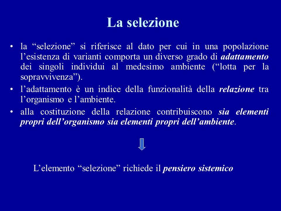La selezione la selezione si riferisce al dato per cui in una popolazione lesistenza di varianti comporta un diverso grado di adattamento dei singoli individui al medesimo ambiente (lotta per la sopravvivenza).
