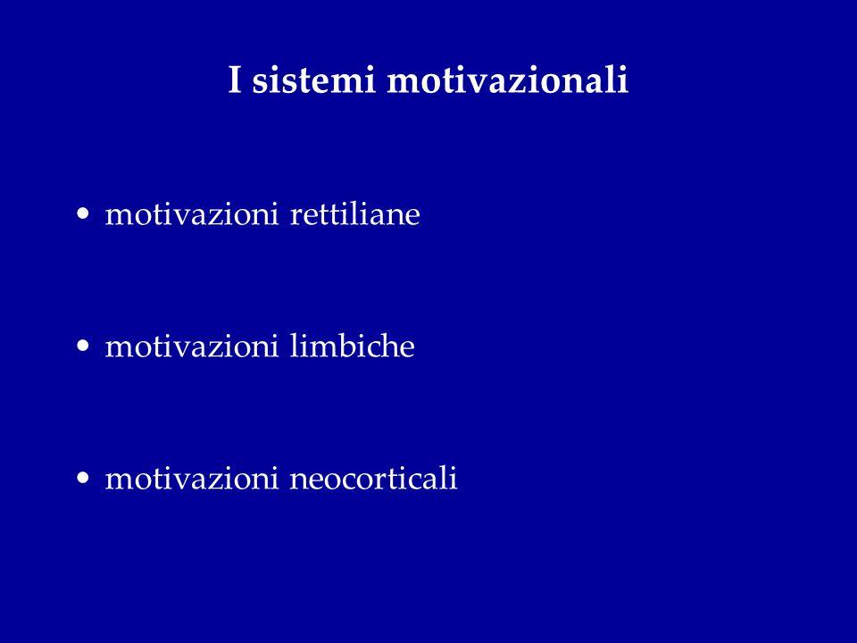 I sistemi motivazionali motivazioni rettiliane motivazioni limbiche motivazioni neocorticali