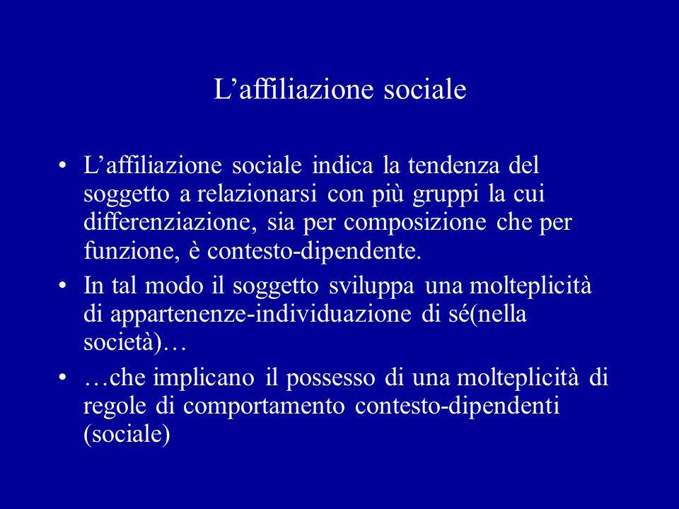 Laffiliazione sociale Laffiliazione sociale indica la tendenza del soggetto a relazionarsi con più gruppi la cui differenziazione, sia per composizion