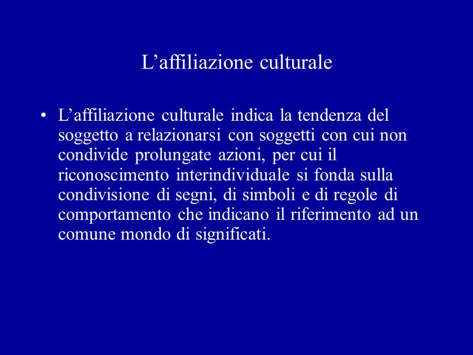 Laffiliazione culturale Laffiliazione culturale indica la tendenza del soggetto a relazionarsi con soggetti con cui non condivide prolungate azioni, p