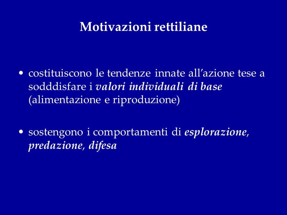 Motivazioni rettiliane costituiscono le tendenze innate allazione tese a sodddisfare i valori individuali di base (alimentazione e riproduzione) soste