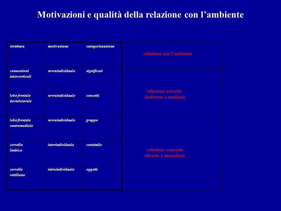 Motivazioni e qualità della relazione con lambiente strutturamotivazionecategorizzazione connessioni intercorticali sovraindividualesignificati lobo f