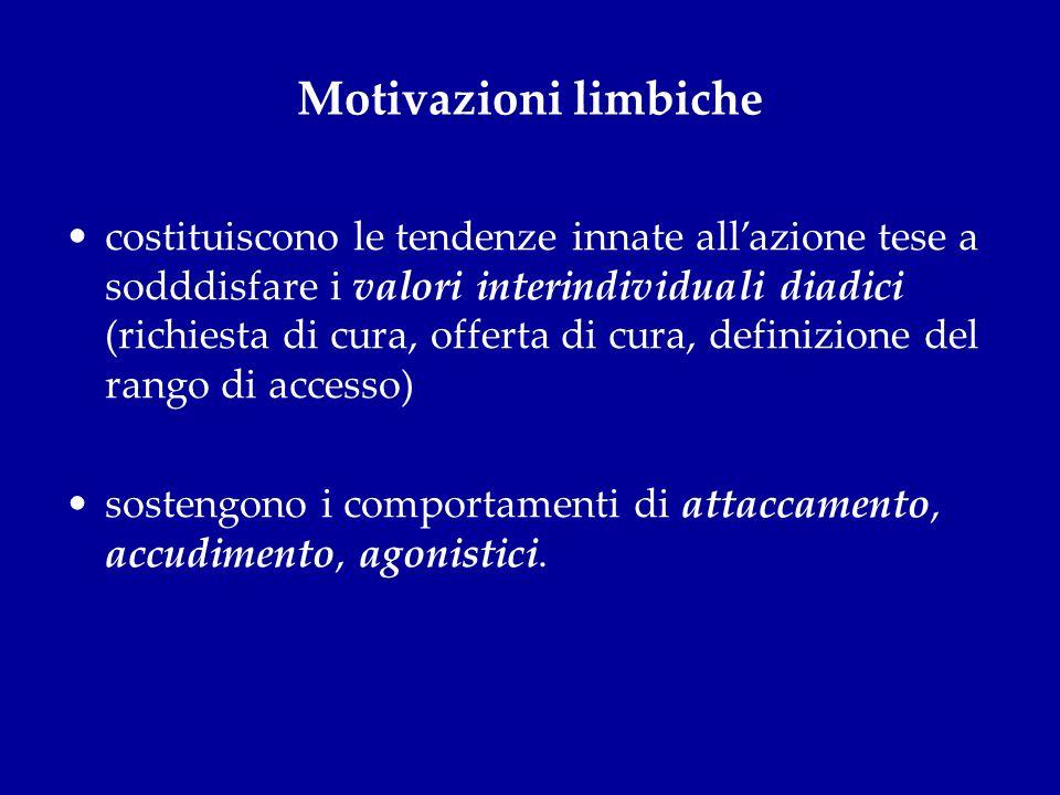 Motivazioni limbiche costituiscono le tendenze innate allazione tese a sodddisfare i valori interindividuali diadici (richiesta di cura, offerta di cu