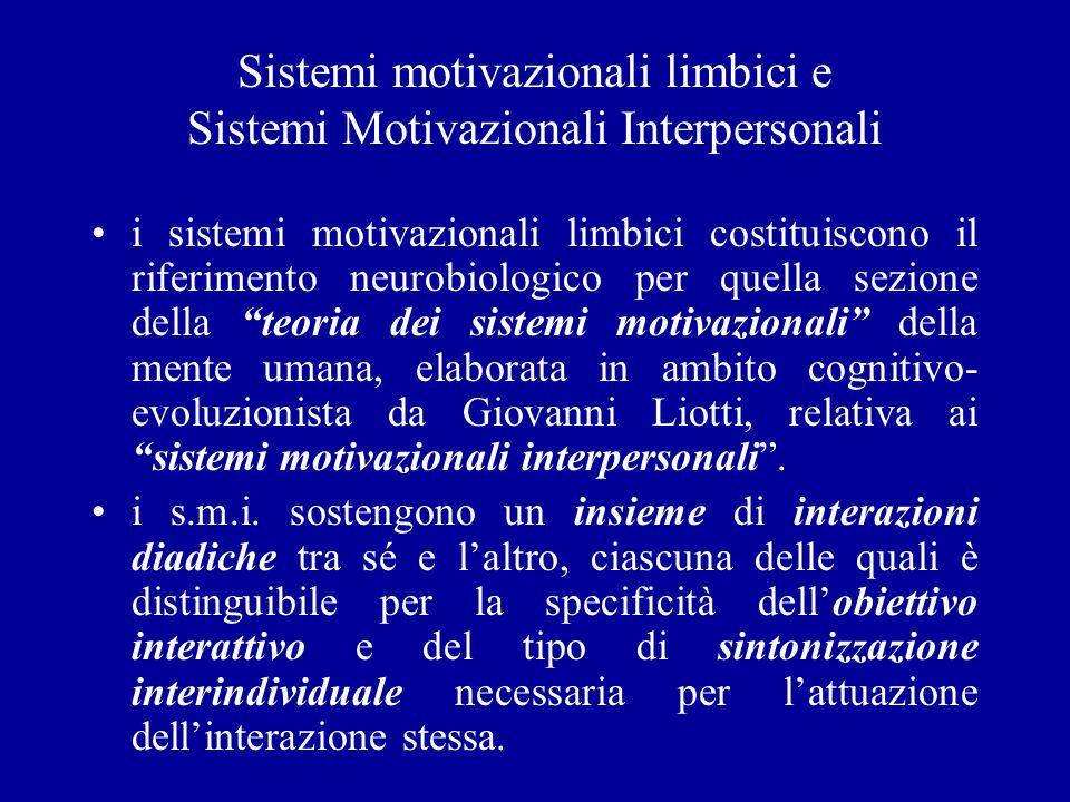 Sistemi motivazionali limbici e Sistemi Motivazionali Interpersonali i sistemi motivazionali limbici costituiscono il riferimento neurobiologico per q