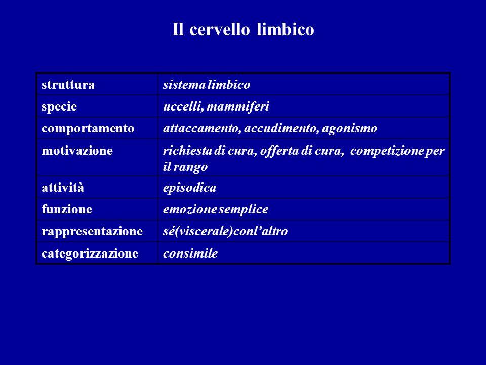 Il cervello limbico strutturasistema limbico specieuccelli, mammiferi comportamentoattaccamento, accudimento, agonismo motivazionerichiesta di cura, o