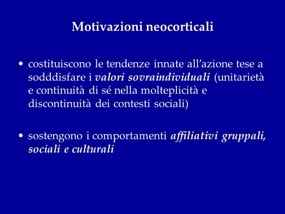 Motivazioni neocorticali costituiscono le tendenze innate allazione tese a sodddisfare i valori sovraindividuali (unitarietà e continuità di sé nella