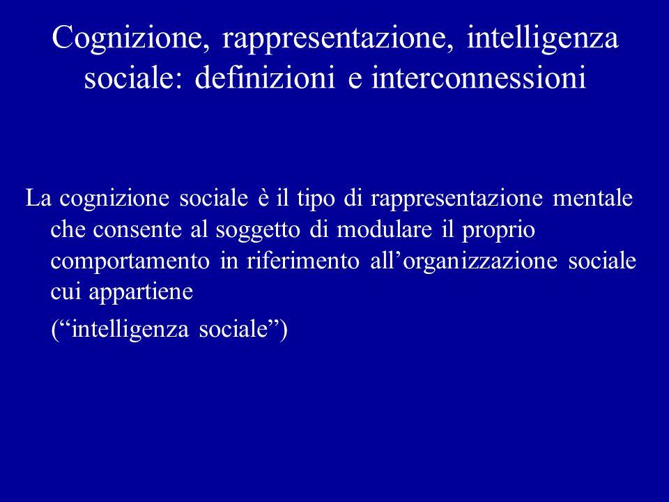 Cognizione, rappresentazione, intelligenza sociale: definizioni e interconnessioni La cognizione sociale è il tipo di rappresentazione mentale che con