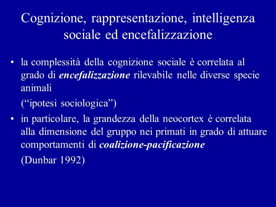 Cognizione, rappresentazione, intelligenza sociale ed encefalizzazione la complessità della cognizione sociale è correlata al grado di encefalizzazion