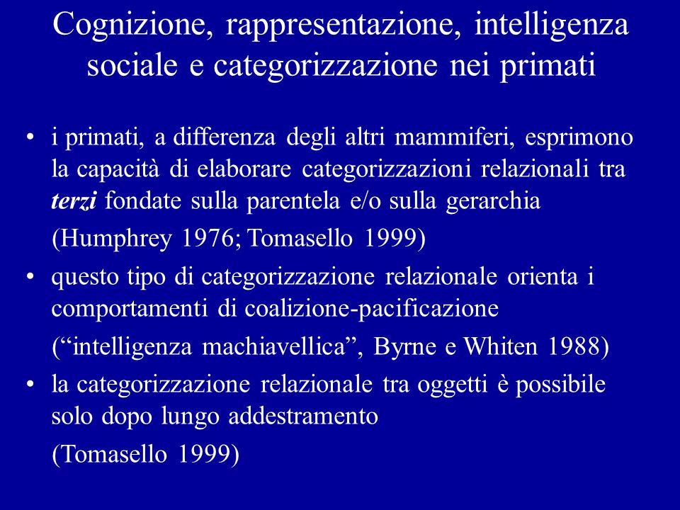 Cognizione, rappresentazione, intelligenza sociale e categorizzazione nei primati i primati, a differenza degli altri mammiferi, esprimono la capacità