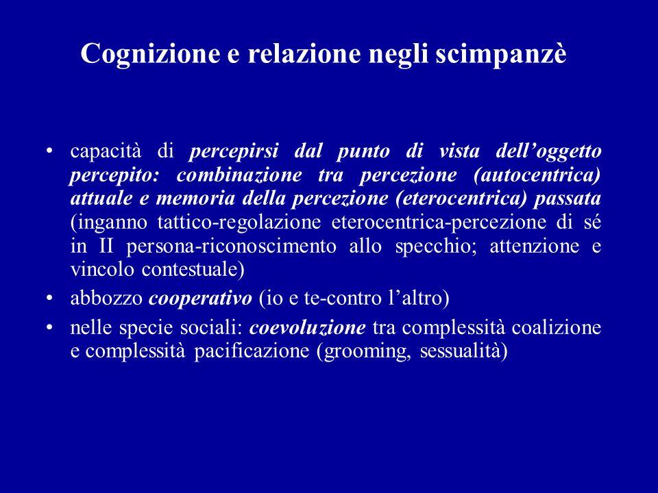 Cognizione e relazione negli scimpanzè capacità di percepirsi dal punto di vista delloggetto percepito: combinazione tra percezione (autocentrica) att