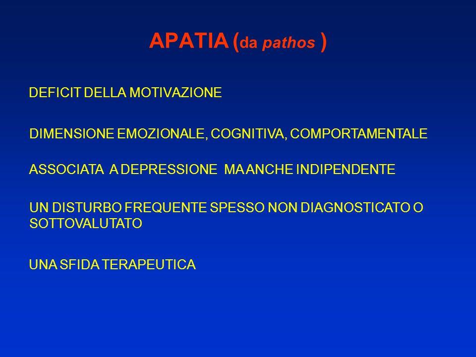 APATIA ( da pathos ) DEFICIT DELLA MOTIVAZIONE DIMENSIONE EMOZIONALE, COGNITIVA, COMPORTAMENTALE ASSOCIATA A DEPRESSIONE MA ANCHE INDIPENDENTE UN DIST