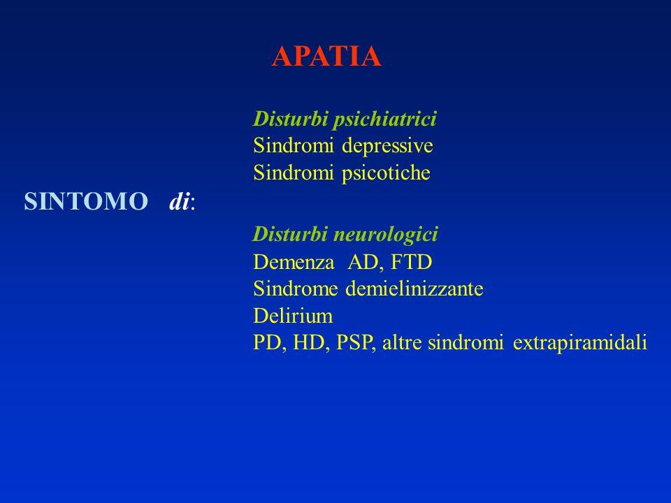 APATIA Disturbi psichiatrici Sindromi depressive Sindromi psicotiche SINTOMO di: Disturbi neurologici Demenza AD, FTD Sindrome demielinizzante Deliriu