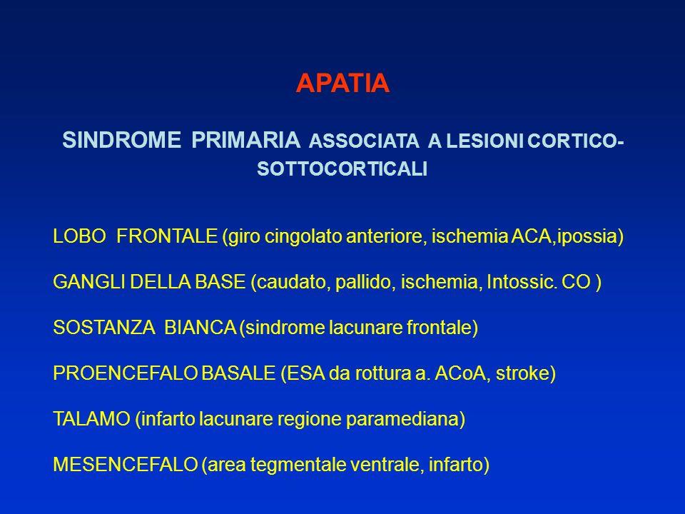 APATIA SINDROME PRIMARIA ASSOCIATA A LESIONI CORTICO- SOTTOCORTICALI LOBO FRONTALE (giro cingolato anteriore, ischemia ACA,ipossia) GANGLI DELLA BASE