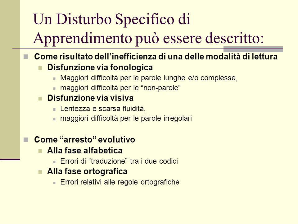 Un Disturbo Specifico di Apprendimento può essere descritto: Come risultato dellinefficienza di una delle modalità di lettura Disfunzione via fonologi