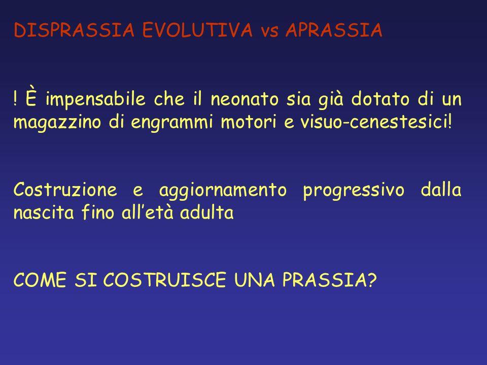 DISPRASSIA EVOLUTIVA vs APRASSIA ! È impensabile che il neonato sia già dotato di un magazzino di engrammi motori e visuo-cenestesici! Costruzione e a