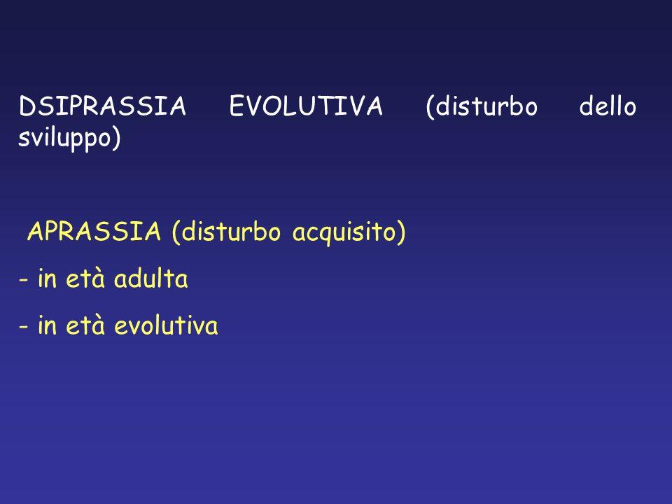 DSIPRASSIA EVOLUTIVA (disturbo dello sviluppo) APRASSIA (disturbo acquisito) - in età adulta - in età evolutiva