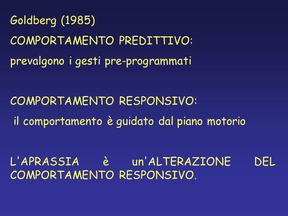 Goldberg (1985) COMPORTAMENTO PREDITTIVO: prevalgono i gesti pre-programmati COMPORTAMENTO RESPONSIVO: il comportamento è guidato dal piano motorio L'