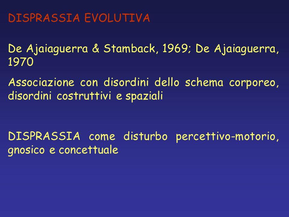 DISPRASSIA EVOLUTIVA De Ajaiaguerra & Stamback, 1969; De Ajaiaguerra, 1970 Associazione con disordini dello schema corporeo, disordini costruttivi e s