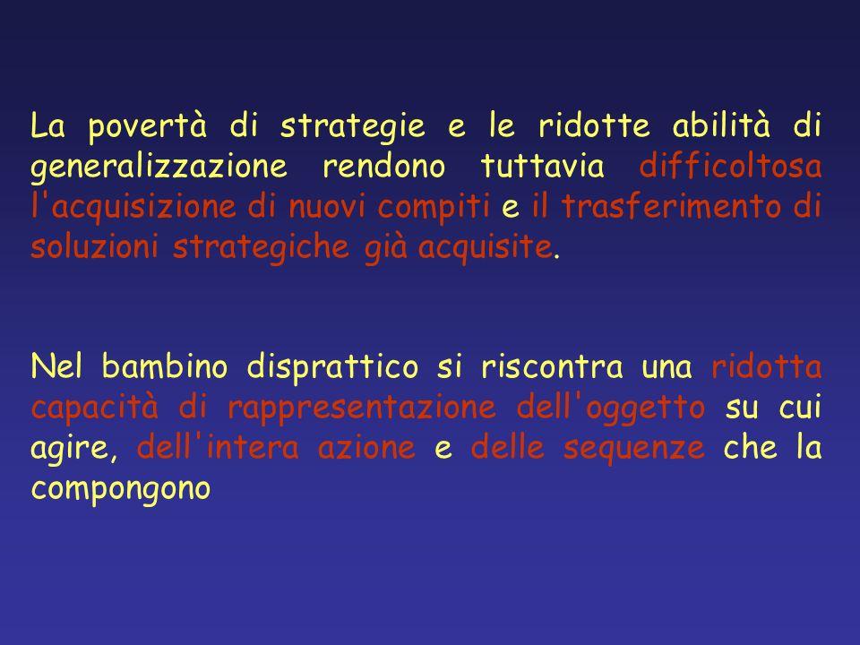 La povertà di strategie e le ridotte abilità di generalizzazione rendono tuttavia difficoltosa l'acquisizione di nuovi compiti e il trasferimento di s