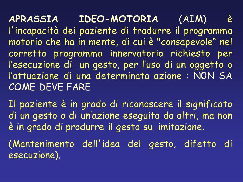APRASSIA IDEO-MOTORIA (AIM) è l'incapacità dei paziente di tradurre il programma motorio che ha in mente, di cui è