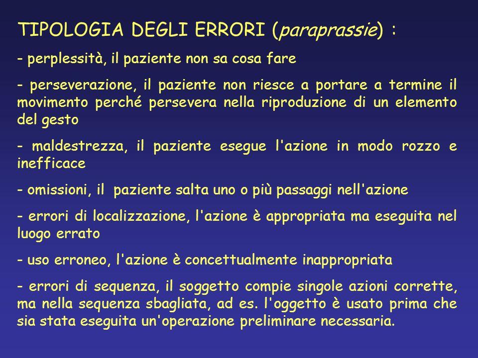TIPOLOGIA DEGLI ERRORI (paraprassie) : - perplessità, il paziente non sa cosa fare - perseverazione, il paziente non riesce a portare a termine il mov