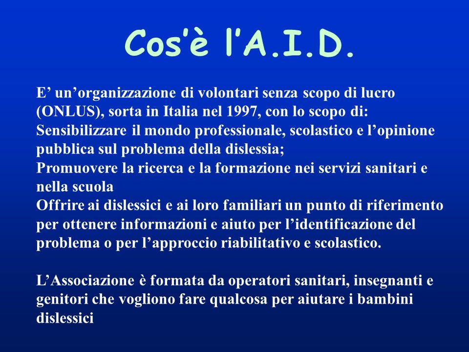 Cosè lA.I.D. E unorganizzazione di volontari senza scopo di lucro (ONLUS), sorta in Italia nel 1997, con lo scopo di: Sensibilizzare il mondo professi