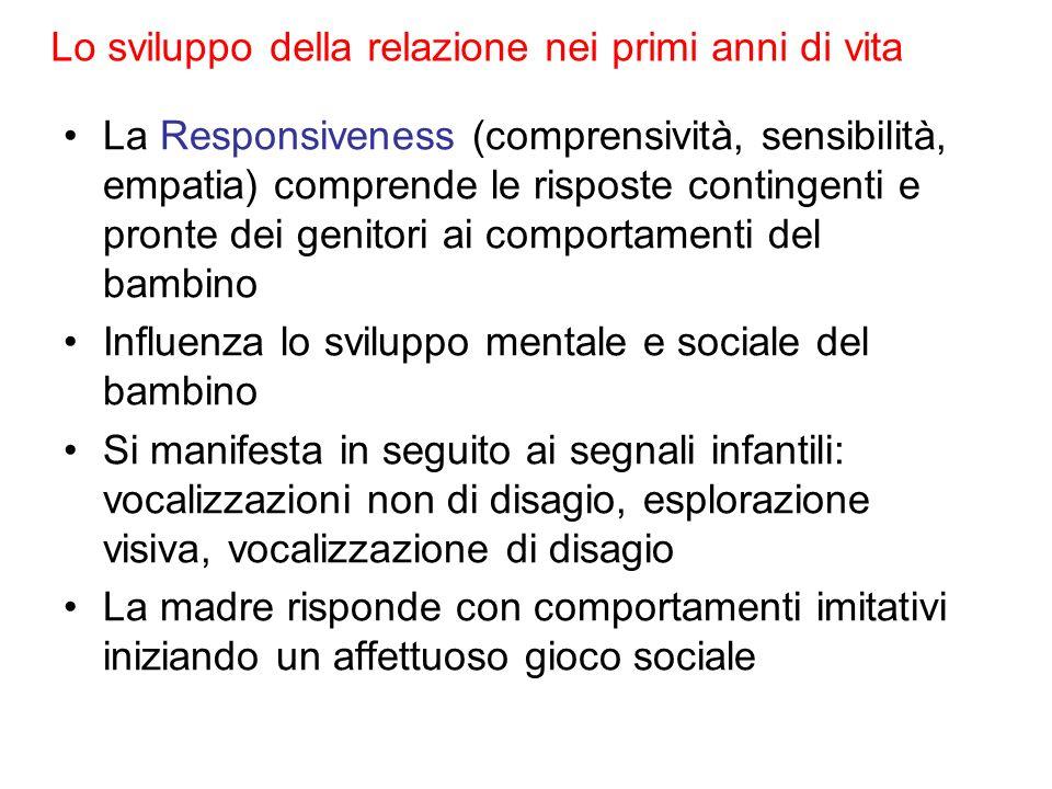 Lo sviluppo della relazione nei primi anni di vita La Responsiveness (comprensività, sensibilità, empatia) comprende le risposte contingenti e pronte