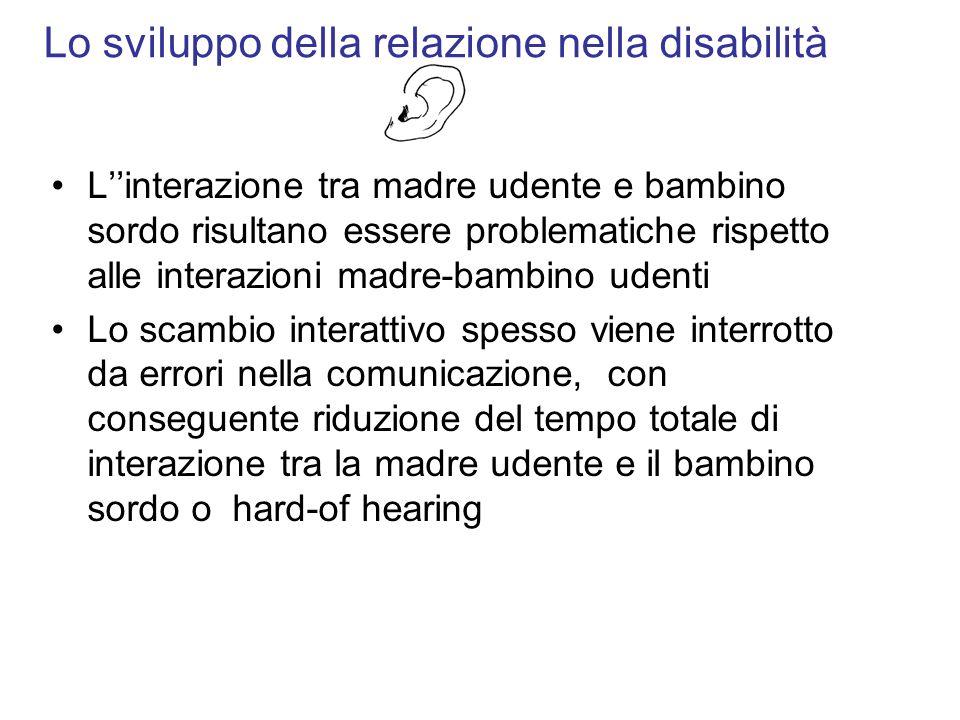 Lo sviluppo della relazione nella disabilità Linterazione tra madre udente e bambino sordo risultano essere problematiche rispetto alle interazioni ma
