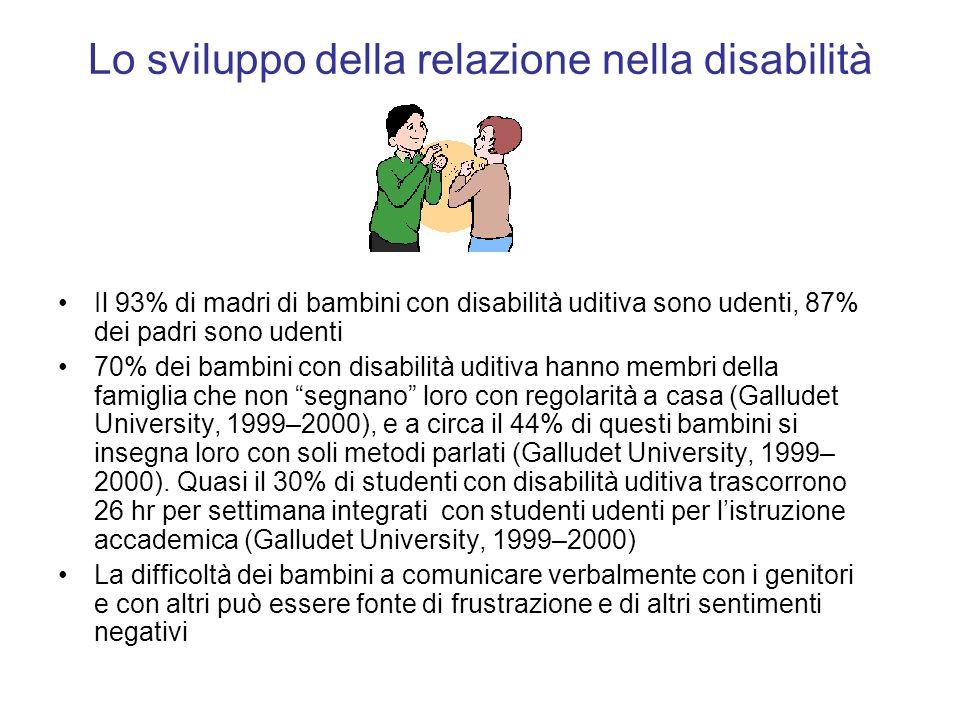 Lo sviluppo della relazione nella disabilità Il 93% di madri di bambini con disabilità uditiva sono udenti, 87% dei padri sono udenti 70% dei bambini