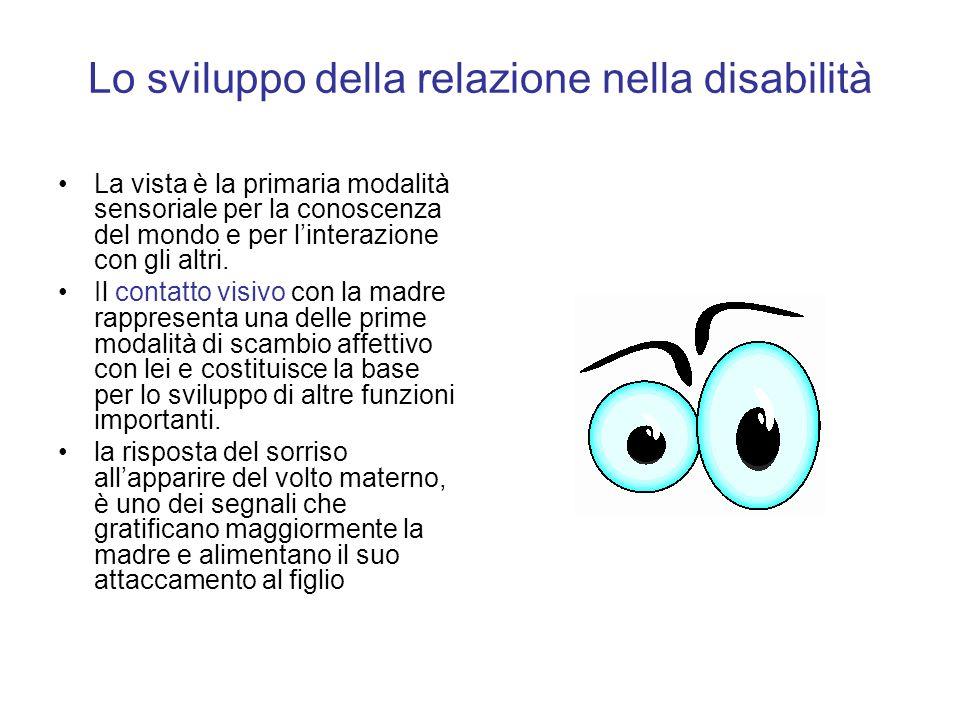 Lo sviluppo della relazione nella disabilità La vista è la primaria modalità sensoriale per la conoscenza del mondo e per linterazione con gli altri.