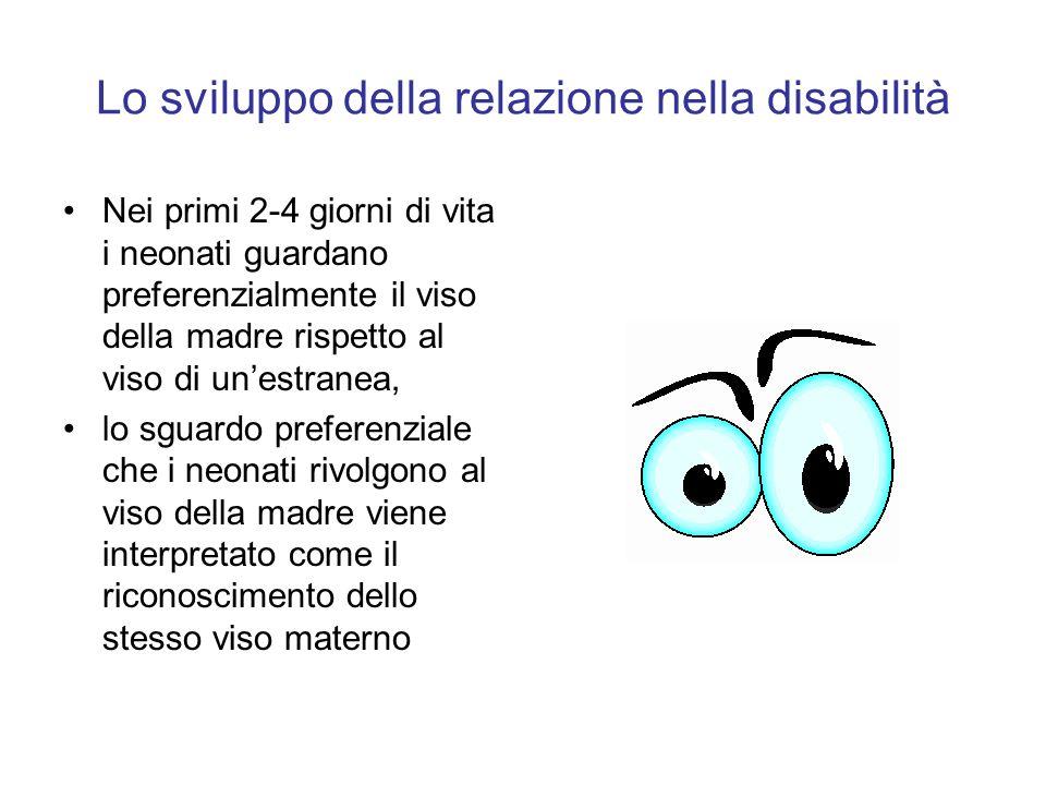 Lo sviluppo della relazione nella disabilità Nei primi 2-4 giorni di vita i neonati guardano preferenzialmente il viso della madre rispetto al viso di