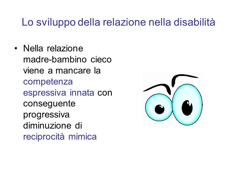 Lo sviluppo della relazione nella disabilità Nella relazione madre-bambino cieco viene a mancare la competenza espressiva innata con conseguente progr