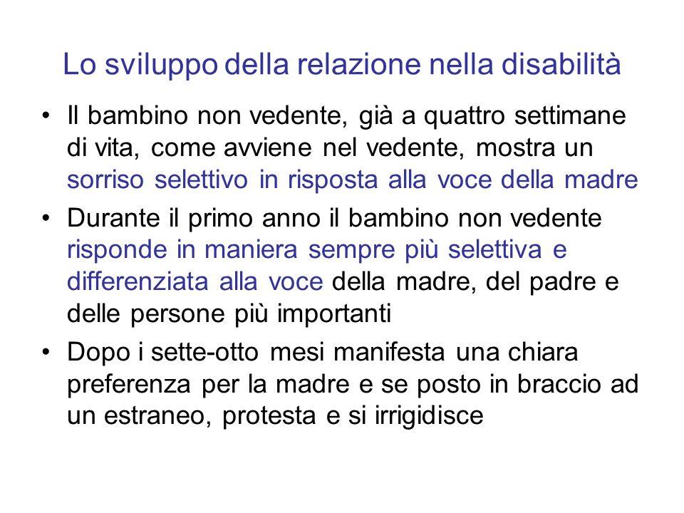 Lo sviluppo della relazione nella disabilità Il bambino non vedente, già a quattro settimane di vita, come avviene nel vedente, mostra un sorriso sele