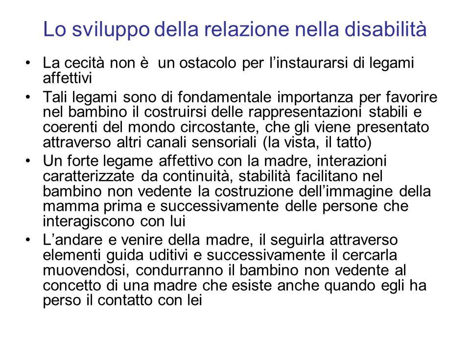 Lo sviluppo della relazione nella disabilità La cecità non è un ostacolo per linstaurarsi di legami affettivi Tali legami sono di fondamentale importa